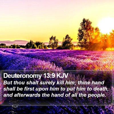 Deuteronomy 13:9 KJV Bible Verse Image