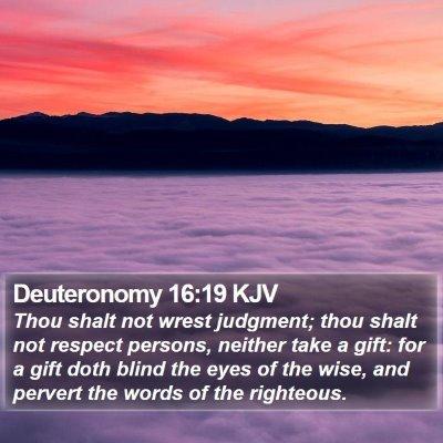 Deuteronomy 16:19 KJV Bible Verse Image