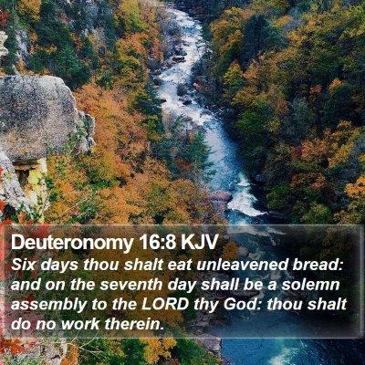 Deuteronomy 16:8 KJV Bible Verse Image