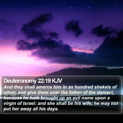 Deuteronomy 22:19 KJV Bible Verse Image