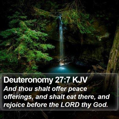 Deuteronomy 27:7 KJV Bible Verse Image
