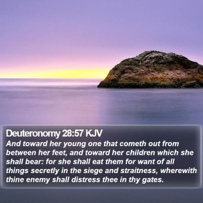 Deuteronomy 28:57 KJV Bible Verse Image