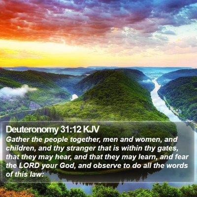 Deuteronomy 31:12 KJV Bible Verse Image