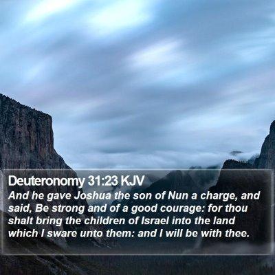 Deuteronomy 31:23 KJV Bible Verse Image