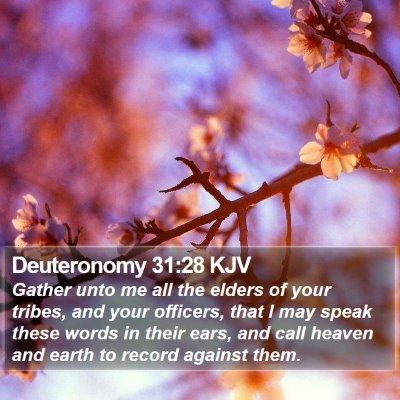 Deuteronomy 31:28 KJV Bible Verse Image
