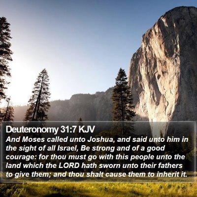 Deuteronomy 31:7 KJV Bible Verse Image