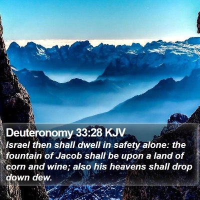 Deuteronomy 33:28 KJV Bible Verse Image