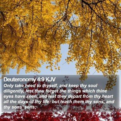 Deuteronomy 4:9 KJV Bible Verse Image
