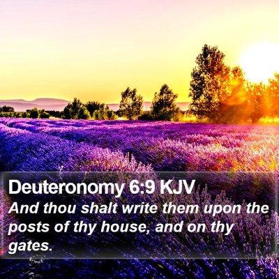 Deuteronomy 6:9 KJV Bible Verse Image