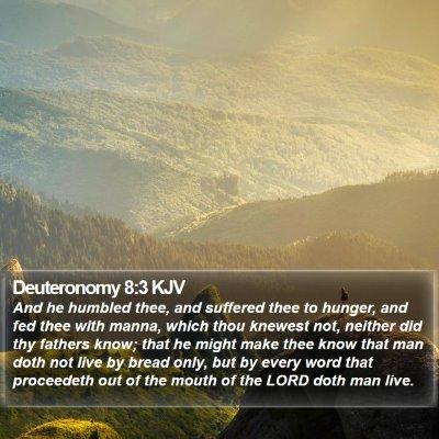 Deuteronomy 8:3 KJV Bible Verse Image