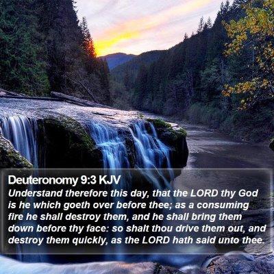 Deuteronomy 9:3 KJV Bible Verse Image