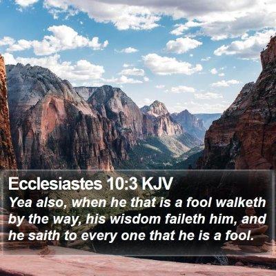 Ecclesiastes 10:3 KJV Bible Verse Image