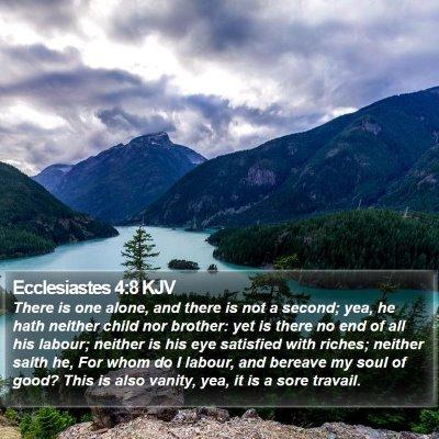Ecclesiastes 4:8 KJV Bible Verse Image