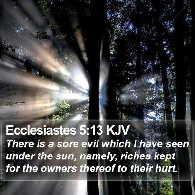 Ecclesiastes 5:13 KJV Bible Verse Image