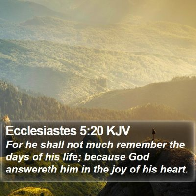 Ecclesiastes 5:20 KJV Bible Verse Image