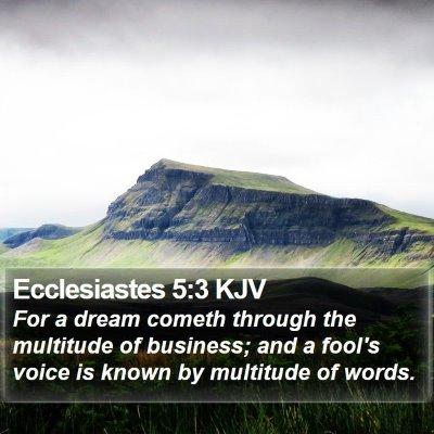 Ecclesiastes 5:3 KJV Bible Verse Image