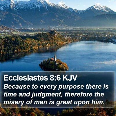 Ecclesiastes 8:6 KJV Bible Verse Image