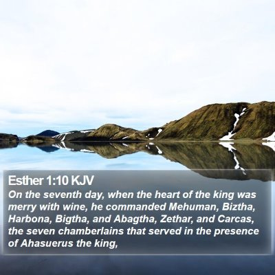 Esther 1:10 KJV Bible Verse Image