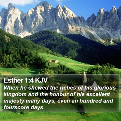 Esther 1:4 KJV Bible Verse Image