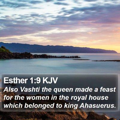 Esther 1:9 KJV Bible Verse Image