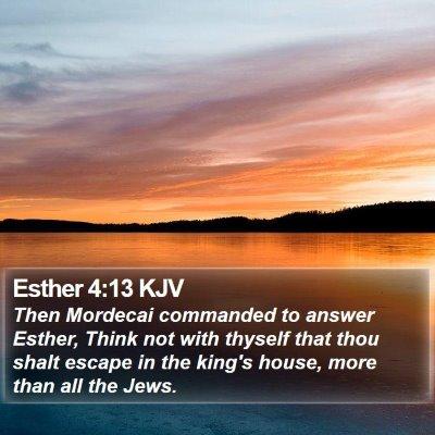 Esther 4:13 KJV Bible Verse Image