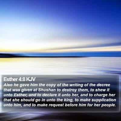 Esther 4:8 KJV Bible Verse Image