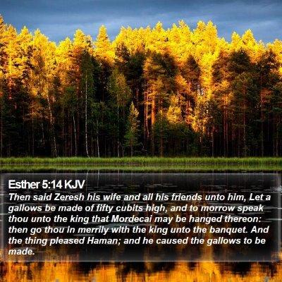 Esther 5:14 KJV Bible Verse Image