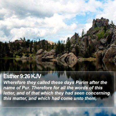 Esther 9:26 KJV Bible Verse Image