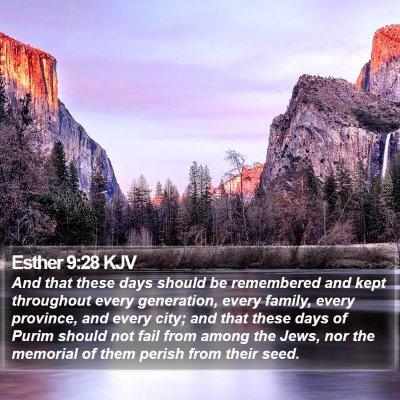 Esther 9:28 KJV Bible Verse Image