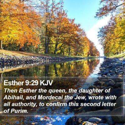 Esther 9:29 KJV Bible Verse Image