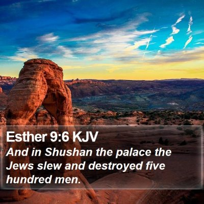 Esther 9:6 KJV Bible Verse Image
