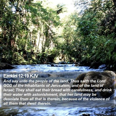 Ezekiel 12:19 KJV Bible Verse Image
