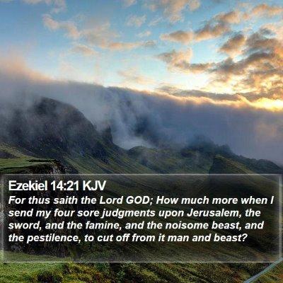 Ezekiel 14:21 KJV Bible Verse Image