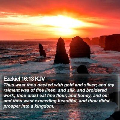 Ezekiel 16:13 KJV Bible Verse Image