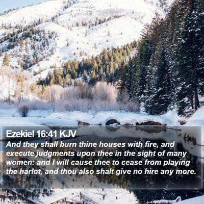Ezekiel 16:41 KJV Bible Verse Image