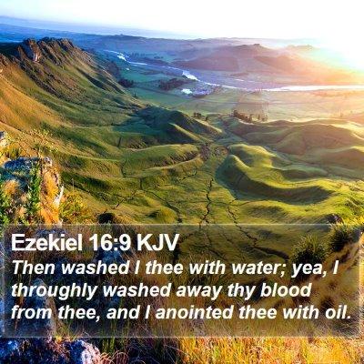 Ezekiel 16:9 KJV Bible Verse Image