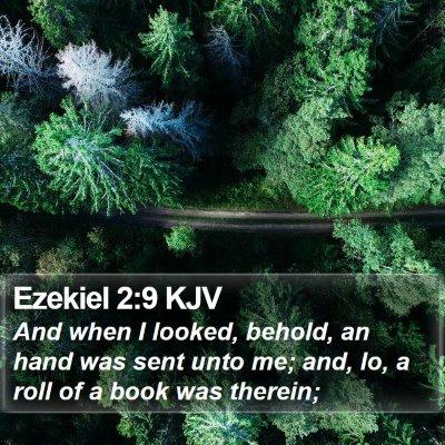 Ezekiel 2:9 KJV Bible Verse Image