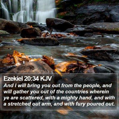 Ezekiel 20:34 KJV Bible Verse Image