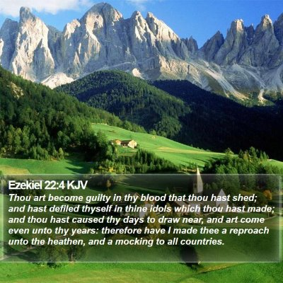 Ezekiel 22:4 KJV Bible Verse Image