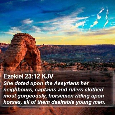 Ezekiel 23:12 KJV Bible Verse Image