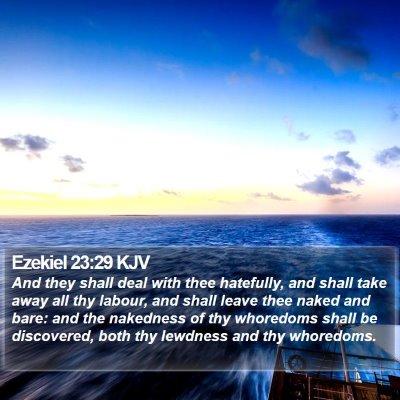 Ezekiel 23:29 KJV Bible Verse Image
