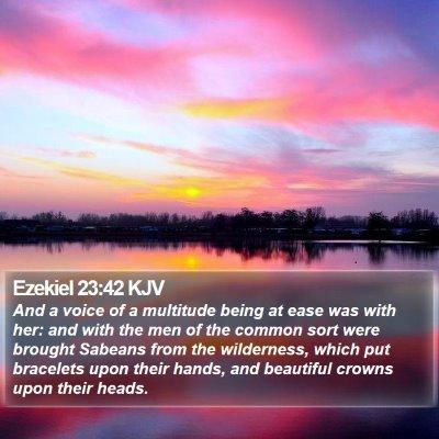 Ezekiel 23:42 KJV Bible Verse Image