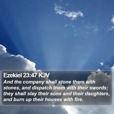 Ezekiel 23:47 KJV Bible Verse Image