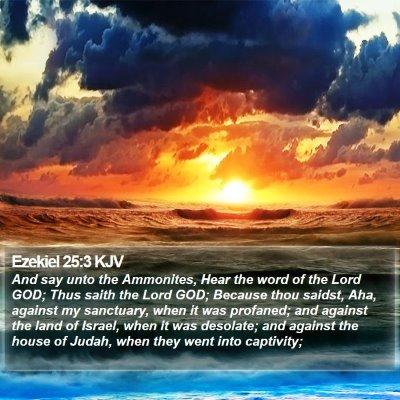Ezekiel 25:3 KJV Bible Verse Image