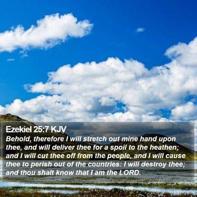 Ezekiel 25:7 KJV Bible Verse Image