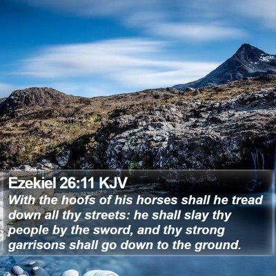 Ezekiel 26:11 KJV Bible Verse Image