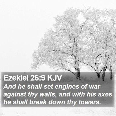 Ezekiel 26:9 KJV Bible Verse Image