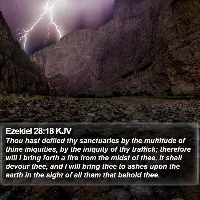 Ezekiel 28:18 KJV Bible Verse Image