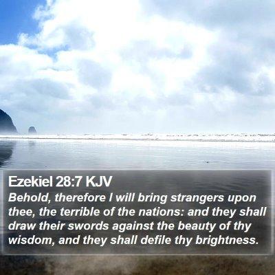 Ezekiel 28:7 KJV Bible Verse Image