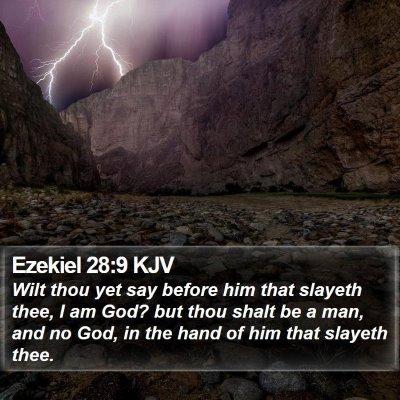 Ezekiel 28:9 KJV Bible Verse Image